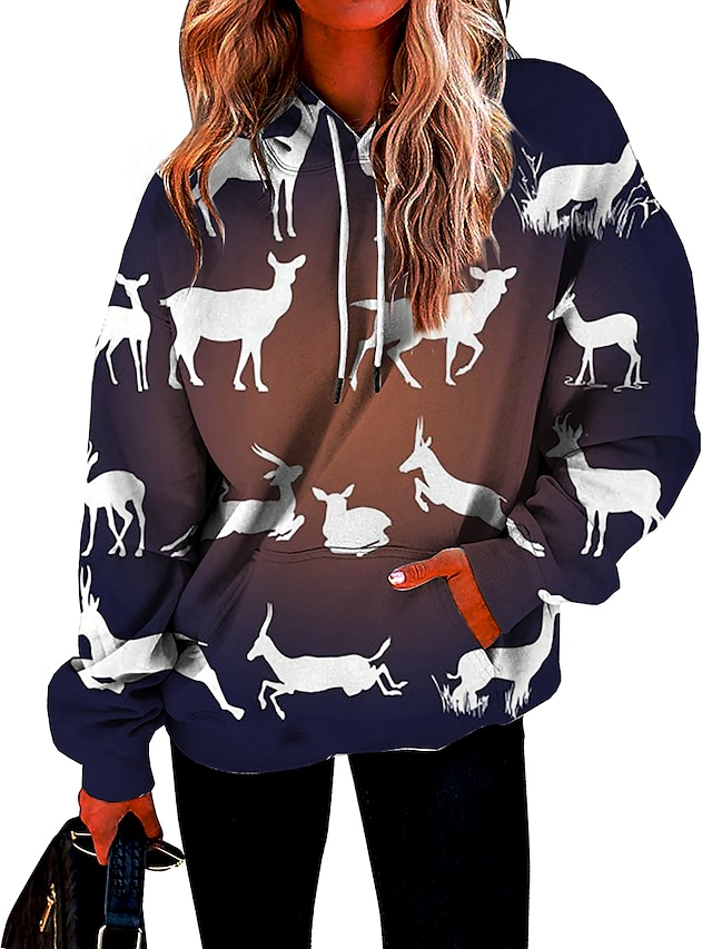 Women's Hoodie Sweatshirt Reindeer Front Pocket Print Christmas Sports 3D Print Streetwear Christmas Hoodies Sweatshirts  Blue