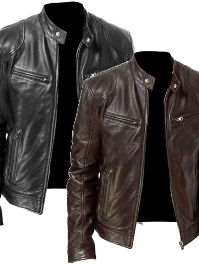 Men's Jacket Street Casual Daily Fall Spring Regular Coat Zipper Stand Collar Slim Fit Windproof Warm Fashion Vintage Cool Jacket Long Sleeve Solid Color Pocket Zipper Black black Brown brown