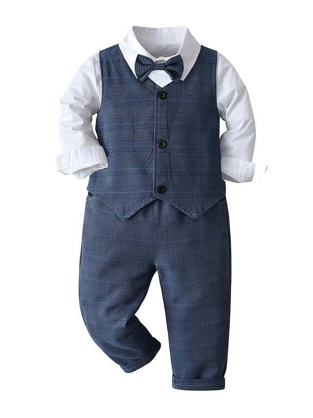 Kids Toddler Boys' Children's Day Clothing Set 4 Pieces Long Sleeve Blue White Print Cotton Party Formal Basic 2-6 Years / Fall / Spring