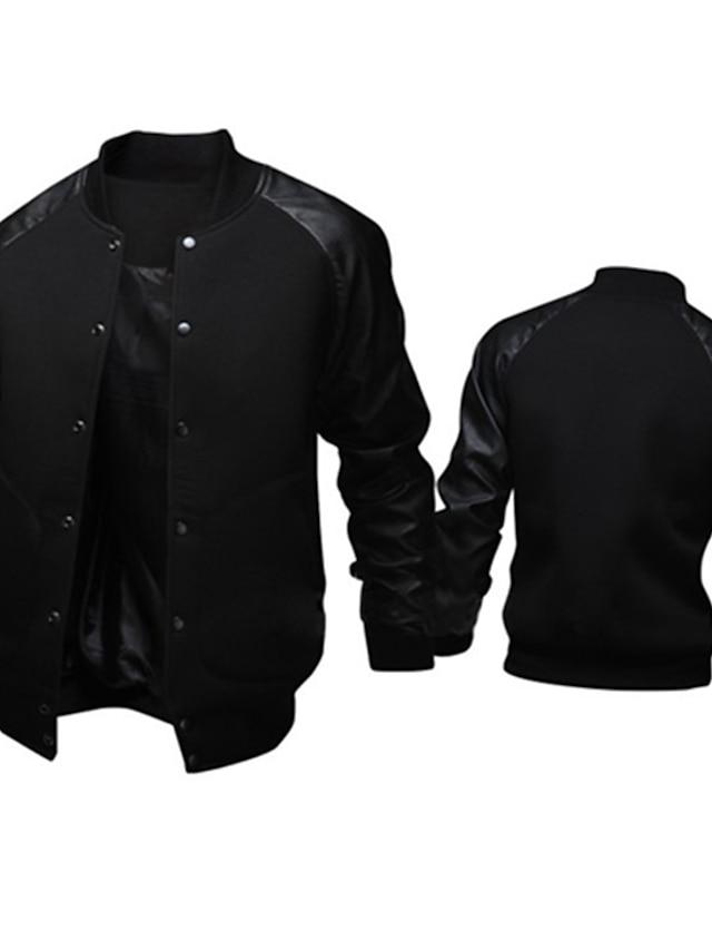 Men's Bomber Jacket Daily Weekend Fall Winter Regular Coat Regular Fit Active Jacket Long Sleeve Patchwork Dark Gray Light gray Black / Cotton