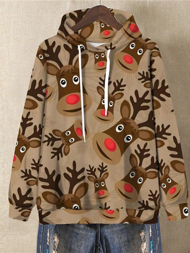 Women's Plus Size Tops Hoodie Sweatshirt Graphic Deer Print Long Sleeve V Neck Streetwear Festival Christmas Daily Spandex Fall Winter Red khaki