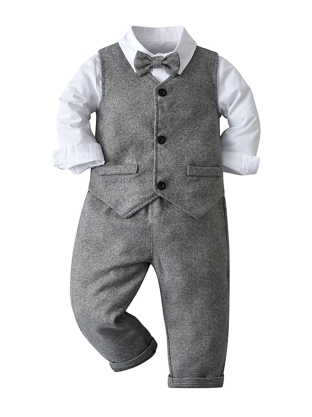 Kids Toddler Boys' Children's Day Clothing Set 4 Pieces Long Sleeve Gray Print Cotton Vacation Festival Basic 2-6 Years / Fall / Spring