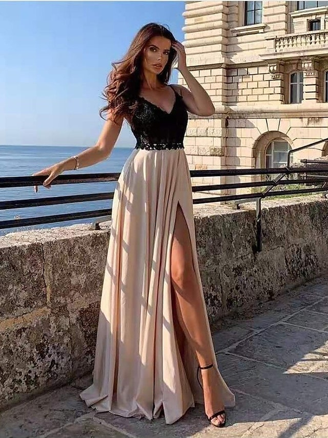 Women's Swing Dress Maxi long Dress Black Sleeveless Solid Color Split Lace Patchwork Spring Summer V Neck Stylish Hot Elegant Party Going out 2021 S M L XL