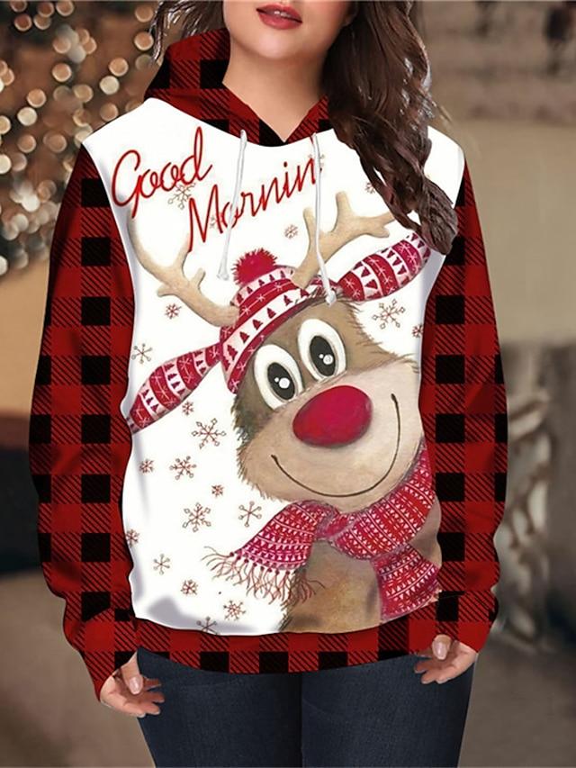 Women's Plus Size Tops Hoodie Sweatshirt Plaid Deer Print Long Sleeve V Neck Streetwear Christmas Christmas Daily Spandex Fall Winter Red White