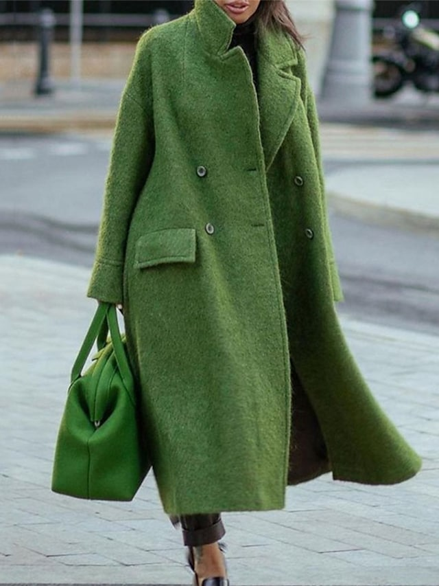 Women's Overcoat Daily Work Fall Winter Maxi Coat Double Breasted Turndown Stand Collar Loose Warm Casual Jacket Long Sleeve Solid Color Quilted Gray Khaki Green