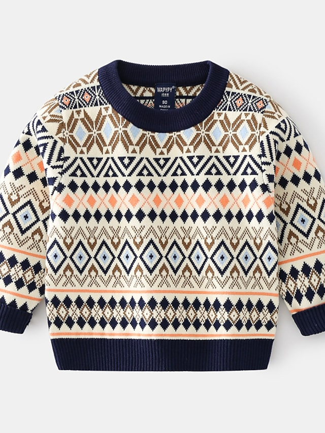 Toddler Boys' Sweater Long Sleeve Khaki Navy Blue Geometric Ruched Indoor Outdoor Cool Daily 1-5 Years