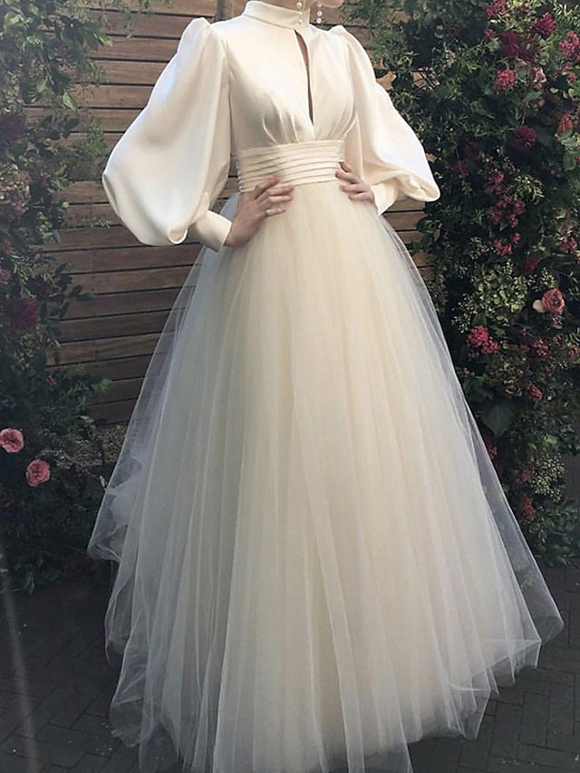 A-Line Wedding Dresses Jewel Neck Floor Length Satin Tulle Long Sleeve Simple Vintage 1950s with Ruched 2021