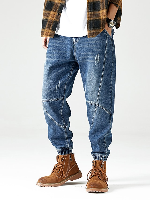 Men's Stylish Casual Comfort Outdoor Pants Jeans Casual Daily Pants Solid Color Full Length Pocket Blue Black