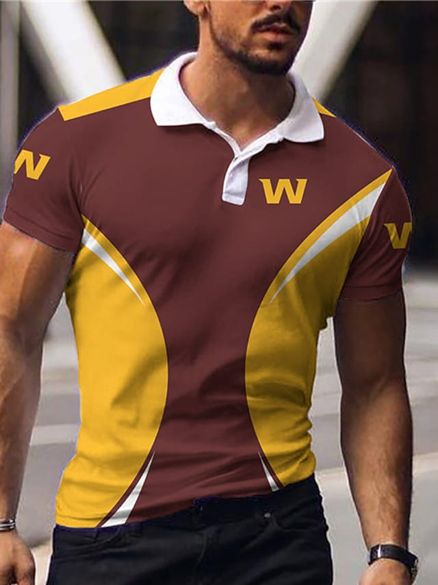 Men's Golf Shirt Color Block Letter Button-Down Print Short Sleeve Casual Tops Sportswear Casual Fashion Comfortable Brown
