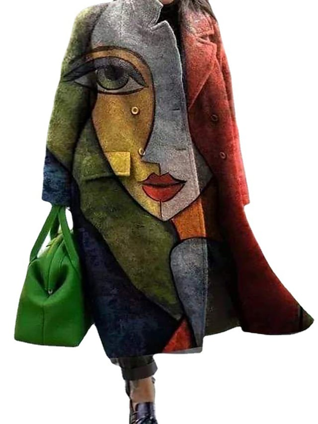 Women's Plus Size Coat Pocket Button Color Block Abstract Causal Vacation Long Sleeve Turndown Long Fall Winter Green L XL XXL 3XL