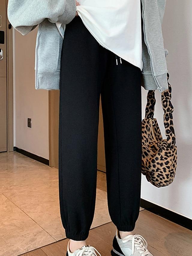 Women's Streetwear Athleisure Comfort Jogger Sweatpants Sports Weekend Pants Plain Full Length Pocket Elastic Drawstring Design Blue Gray White Black Coffee