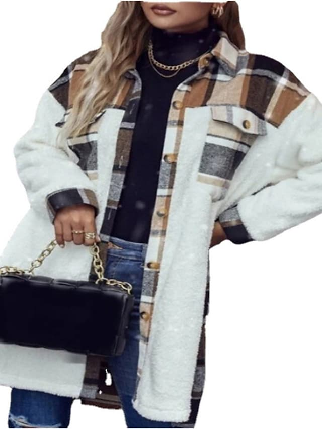 Women's Jacket Street Daily Going out Fall Winter Regular Coat Regular Fit Warm Breathable Casual Jacket Long Sleeve Plaid / Check Patchwork White