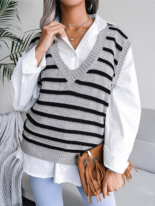 Women's Vest Sweater Knitted Striped Stylish Casual Soft Sleeveless Sweater Cardigans V Neck Fall Winter Blue Gray Beige