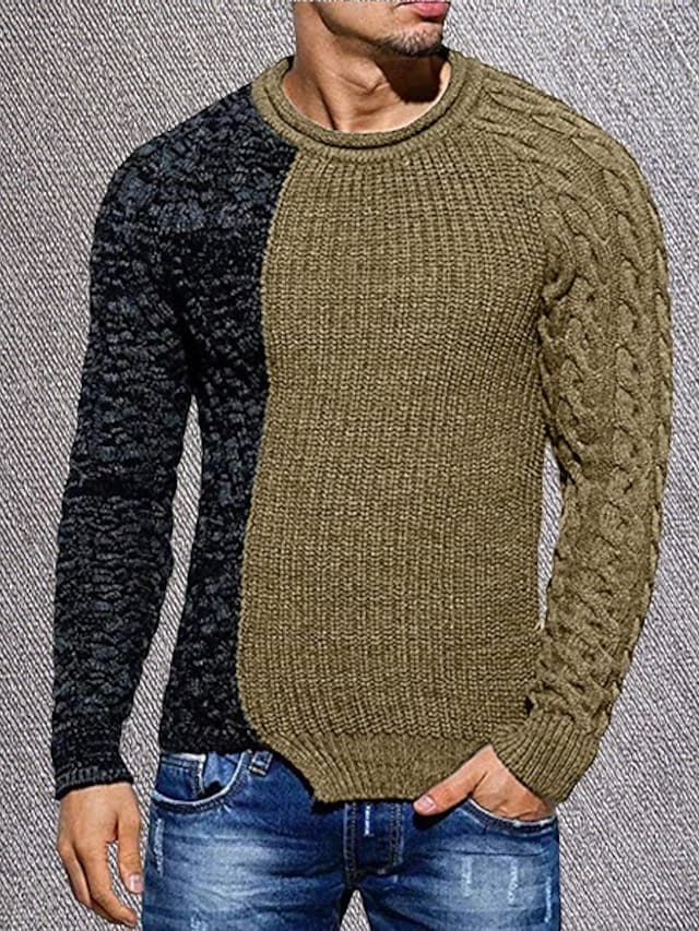 Men's Pullover Sweater Knitted Color Block Stylish Long Sleeve Sweater Cardigans Crew Neck Fall Winter Gray Khaki Green