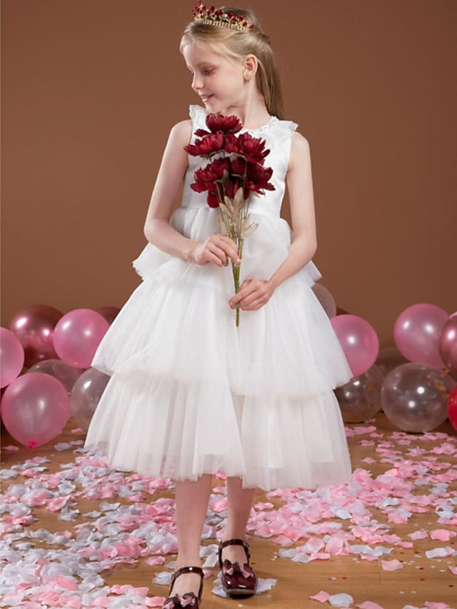 Princess Tea Length Flower Girl Dresses Party Tulle Sleeveless Jewel Neck with Lace