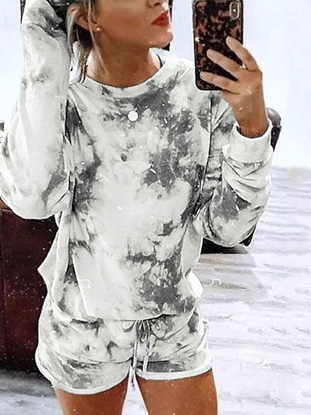 Women's Breathable Loungewear Sets Home Street Daily Going out Elastic Waist Print Tie Dye Polyester Simple Fashion Sport Shorts Fall Summer Crew Neck Long Sleeve Short Pant Not Specified