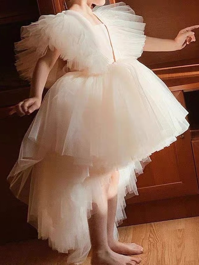 Princess Asymmetrical Flower Girl Dresses Party Tulle Short Sleeve Square Neck with Ruffles