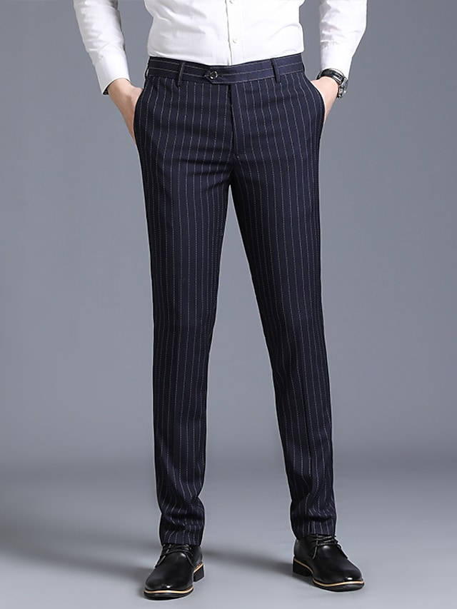 Men's Stylish Casual Soft Outdoor Business Business Daily Pants Lines / Waves Full Length Pocket Blue Black Navy Blue