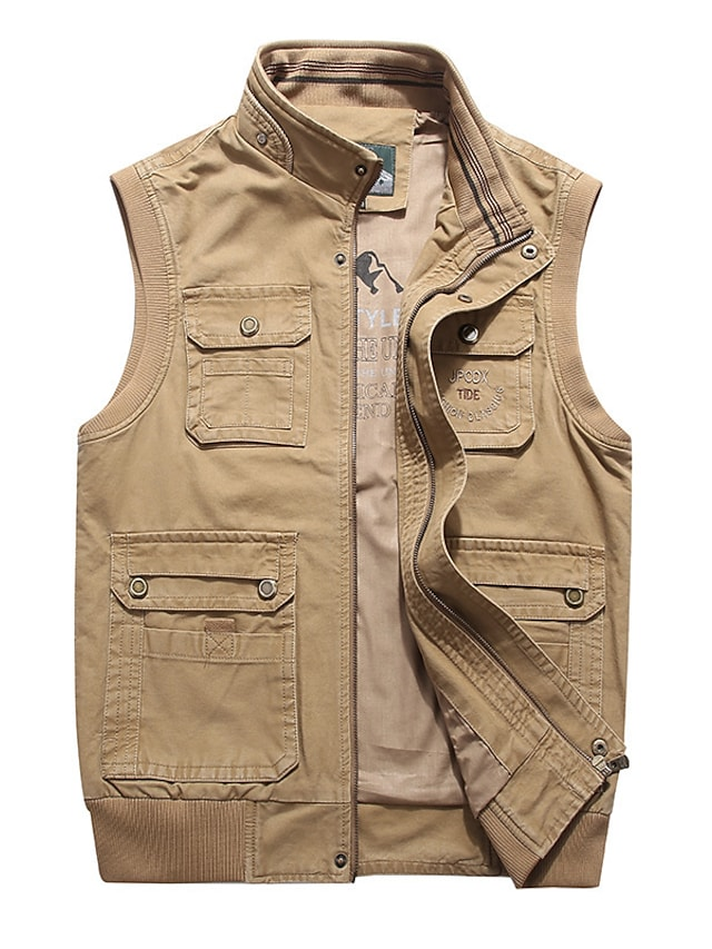 Men's Vest Gilet Street Daily Going out Fall Spring Regular Coat Regular Fit Windproof Breathable Sporty Casual Streetwear Jacket Sleeveless Solid Color Full Zip Pocket Army Green Khaki