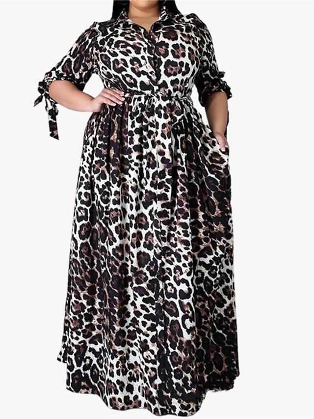 Women's Plus Size Dress A Line Dress Maxi long Dress 3/4 Length Sleeve Leopard Lace up Print Casual Fall Black XL XXL 3XL 4XL 5XL