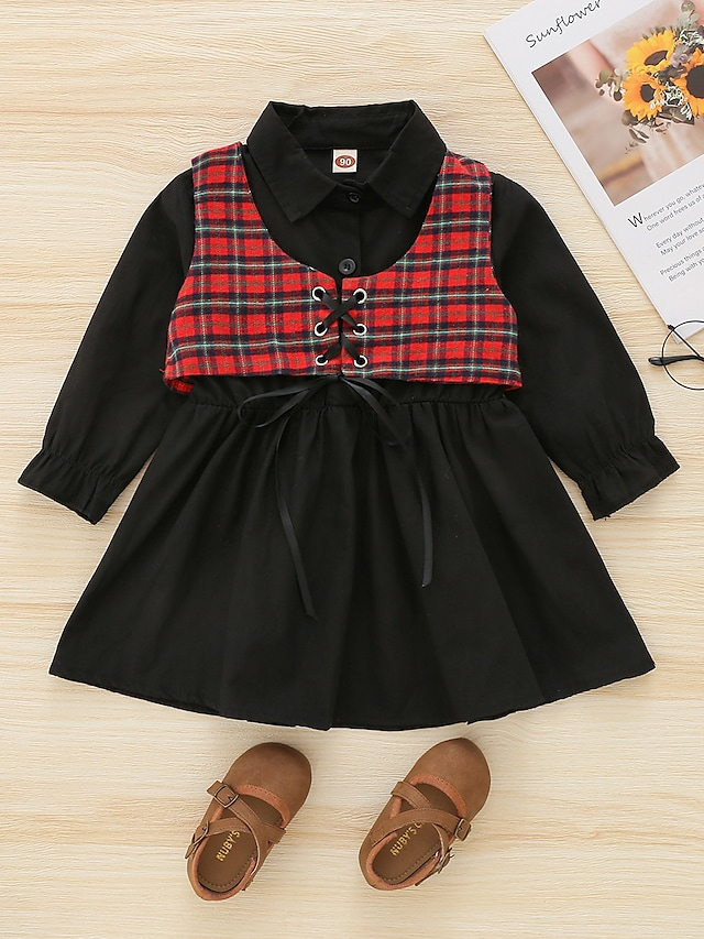 Kids Girls' Clothing Set 2 Pieces Long Sleeve Black Plaid Print Street Outdoor Casual Daily Street Style Sweet Regular 1-5 Years