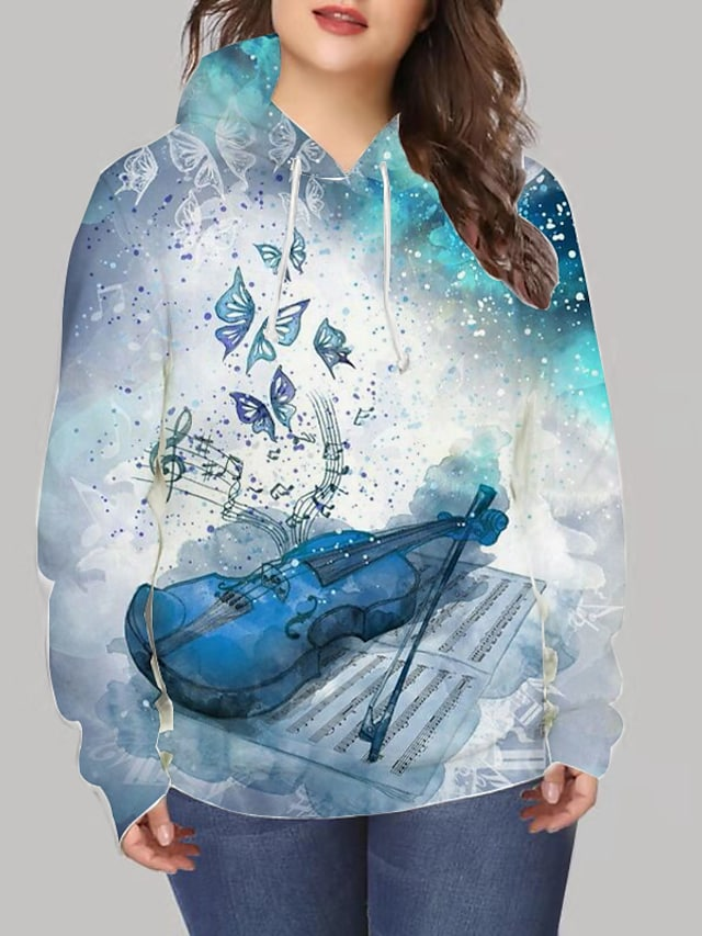 Women's Plus Size Tops Hoodie Sweatshirt Graphic Animal Print Long Sleeve V Neck Streetwear Daily Going out Spandex Winter Blue / 3D Print