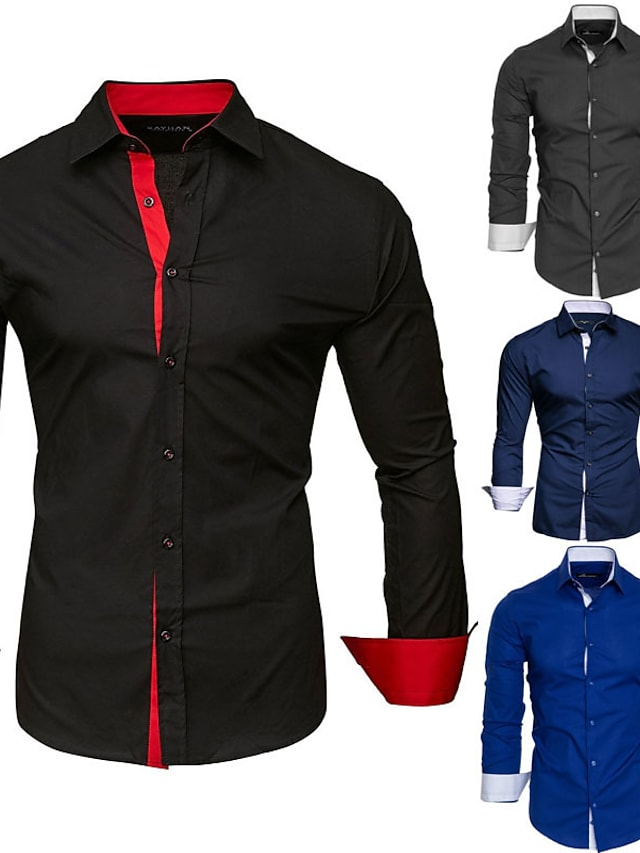 Men's Shirt Solid Colored Patchwork Long Sleeve Wedding Slim Tops Stylish Contemporary Business Professional Classic Collar Royal Blue White Black / Machine wash / Wash separately / Washable / Basic