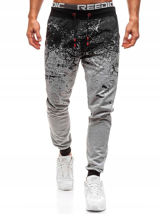 Men's Stylish Casual Streetwear Comfort Outdoor Chinos Sweatpants Casual Daily Pants Gradient Full Length Pocket Print Light Grey Dark Gray
