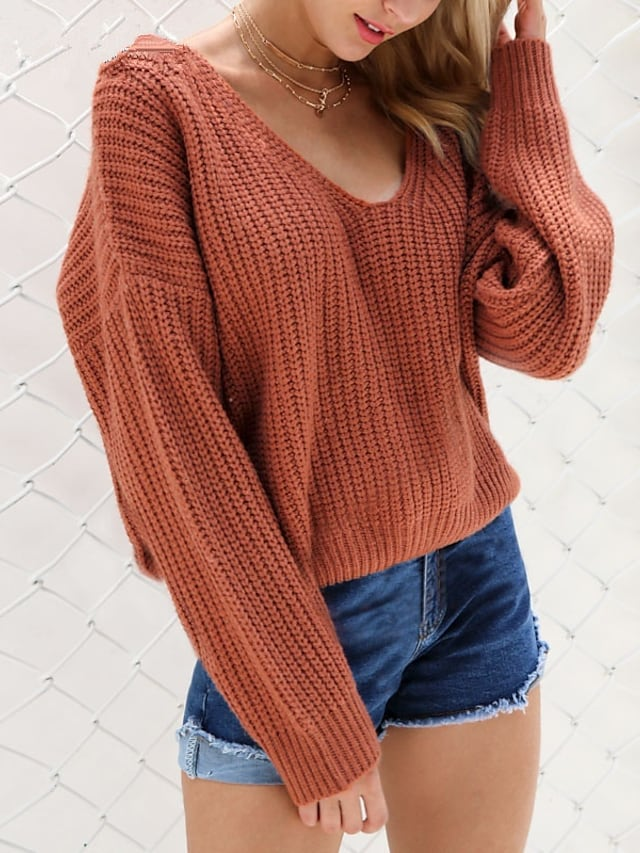 Women's Sweater Jumper Open Back Knitted Hole Solid Color Stylish Casual Sexy Long Sleeve Sweater Cardigans V Neck Fall Army Green Gray Black