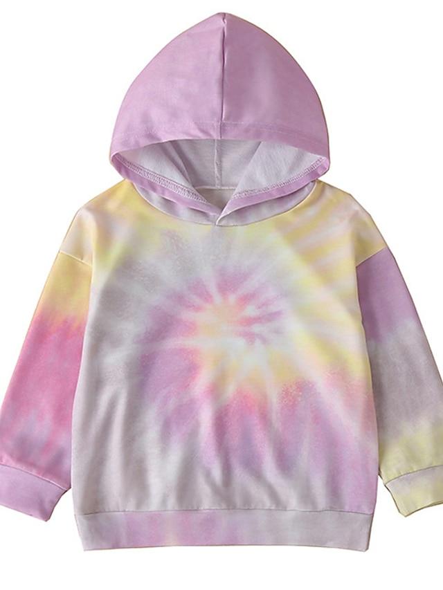 Kids Girls' Hoodie Long Sleeve Purple Tie Dye Daily Indoor Outdoor Fashion Streetwear Daily Sports 1-5 Years