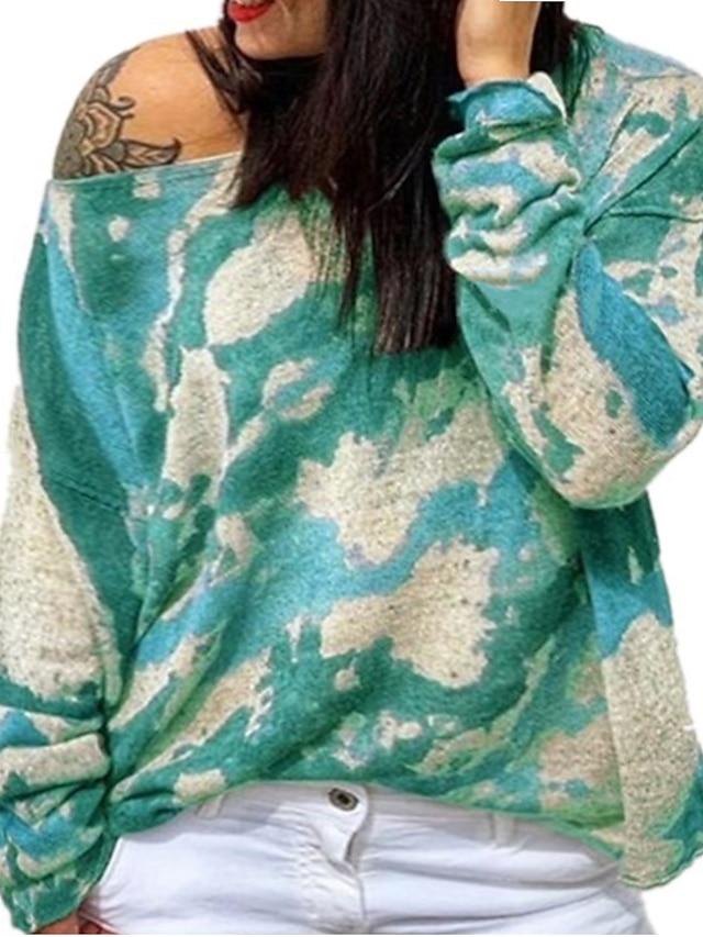 Women's Plus Size Tops Blouse Shirt Tie Dye Print Long Sleeve Crewneck Streetwear Daily Weekend Polyster Fall Blue Purple