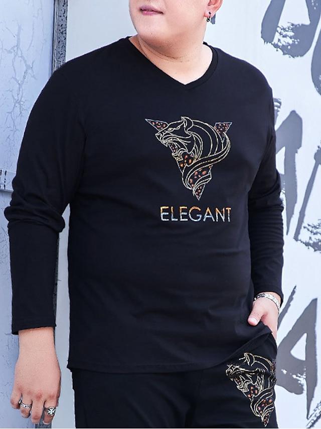 Men's T shirt Animal Stylish Long Sleeve Daily Tops Ordinary Black