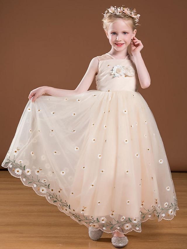 Princess Ankle Length Flower Girl Dresses Party Satin Sleeveless V Neck with Bow(s)