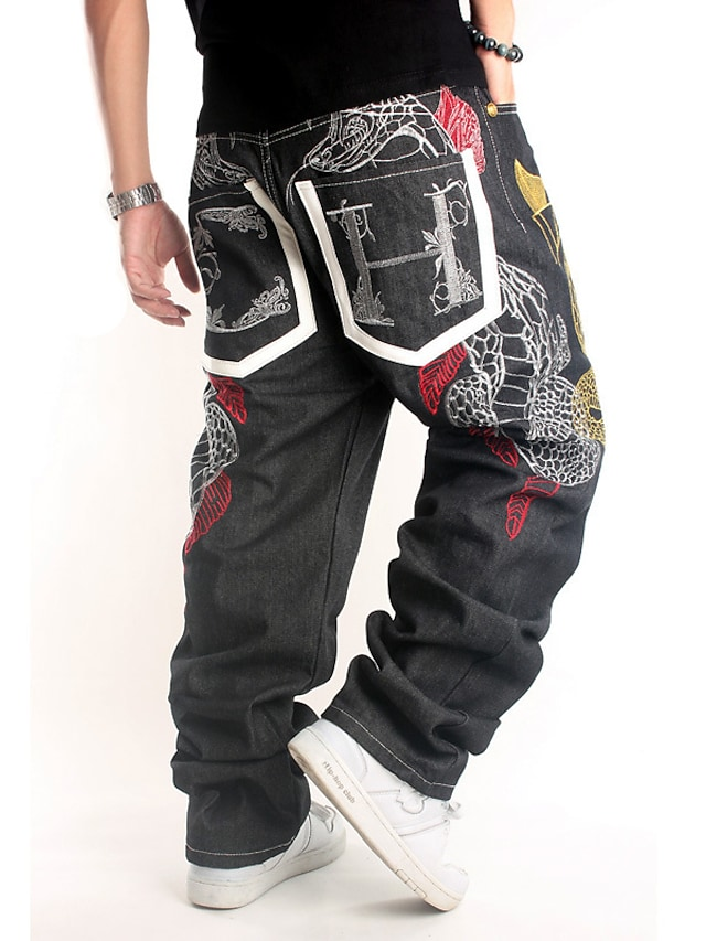 Men's Stylish Casual Comfort Outdoor Pants Jeans Casual Daily Pants Embroidery Full Length Embroidered Pocket Black