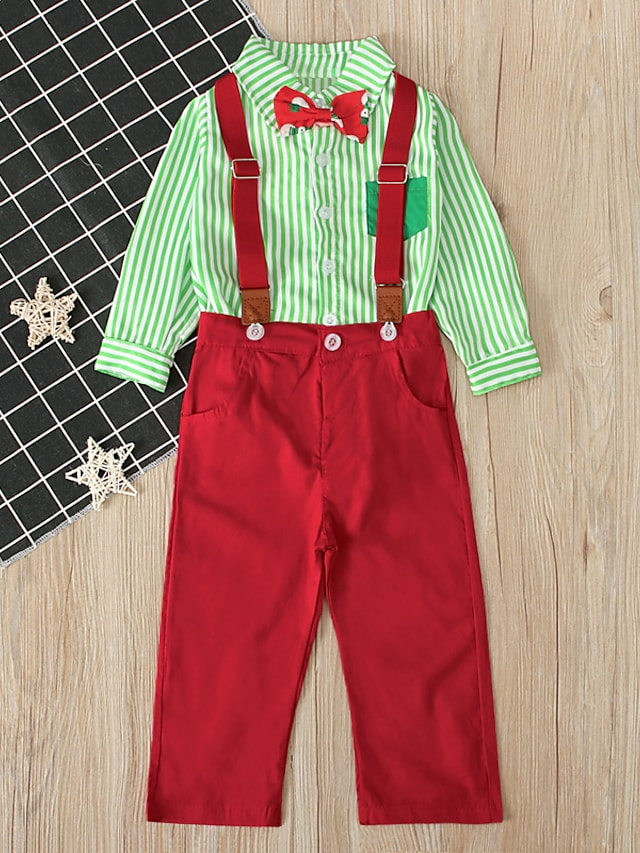 Toddler Boys' Christmas Clothing Set 2 Pieces Long Sleeve Green Red Stripe Bow Print Street Casual Street Style 1-5 Years