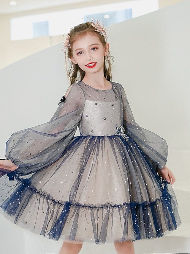 Princess Knee Length Flower Girl Dresses Party Satin Long Sleeve Jewel Neck with Bow(s)
