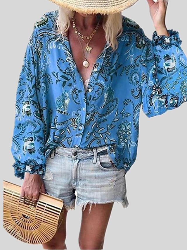 Women's Blouse Shirt Floral Graphic Ruffle Print Round Neck Ethnic Tops Blue Yellow