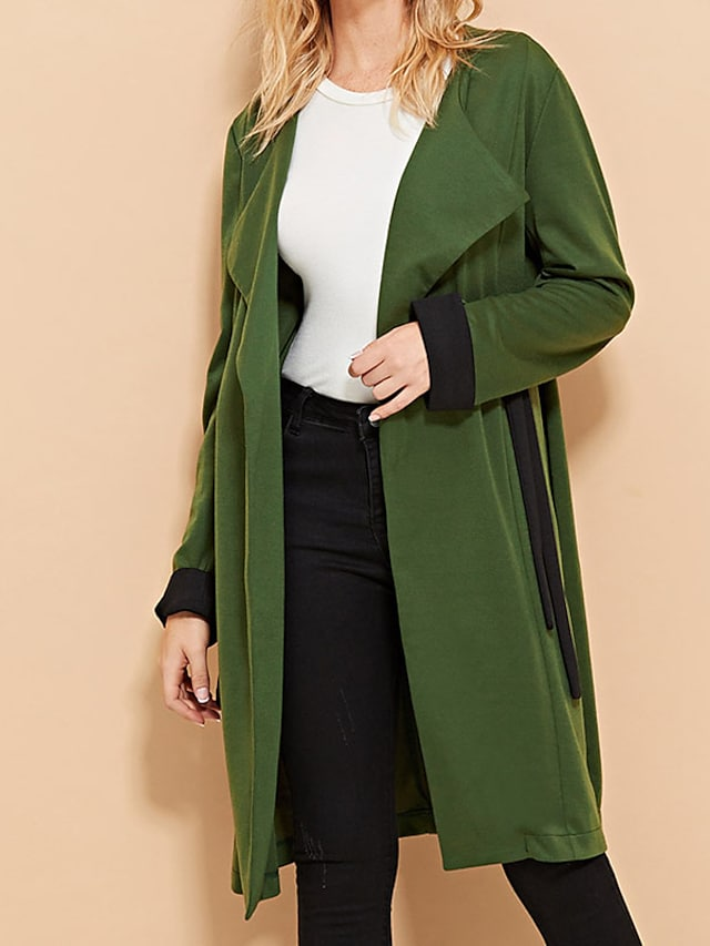 Women's Trench Coat Daily Fall Long Coat Regular Fit Warm Casual Jacket Long Sleeve Solid Color Quilted Green