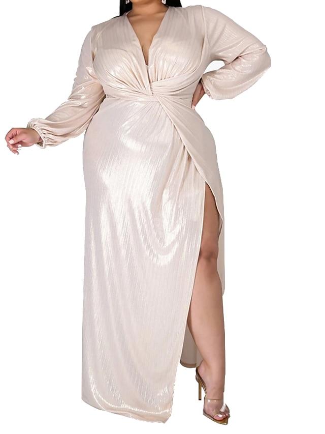 Women's Plus Size Dress A Line Dress Maxi long Dress Long Sleeve Solid Color Split Ruched Casual Fall Silver XL XXL 3XL 4XL 5XL