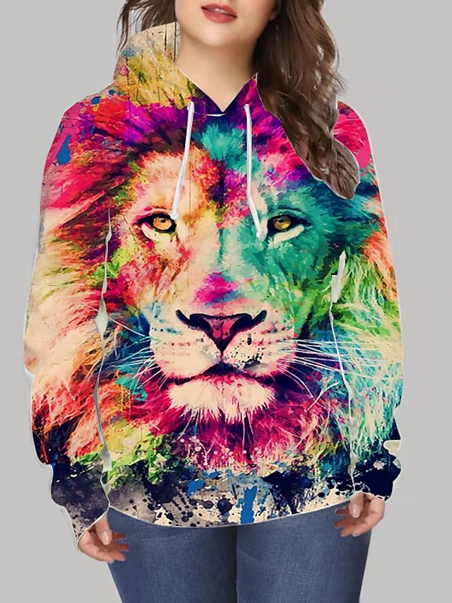 Women's Plus Size Tops Hoodie Sweatshirt Graphic Animal Print Long Sleeve V Neck Streetwear Daily Going out Spandex Winter Rainbow / 3D Print