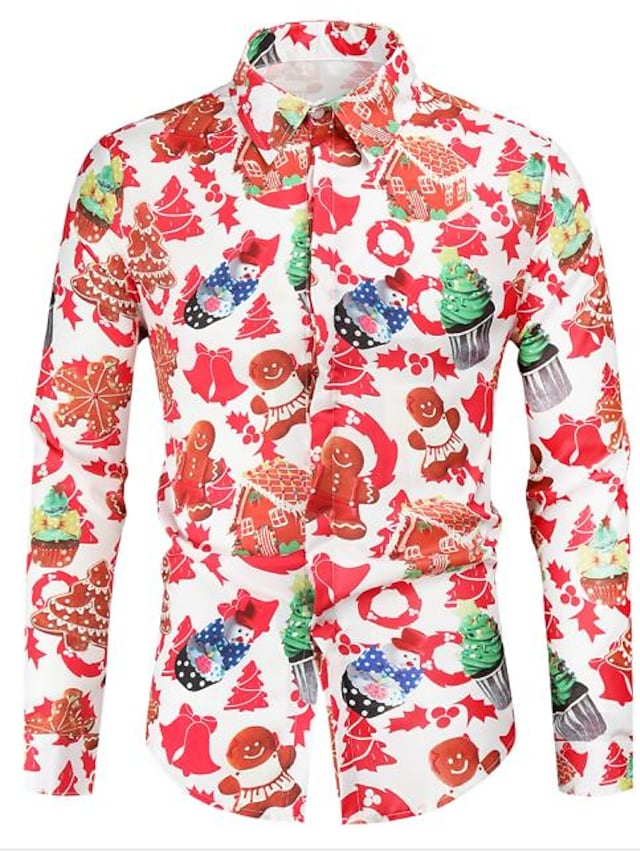 Men's Shirt Graphic Long Sleeve Christmas Tops Casual Fashion Red / White