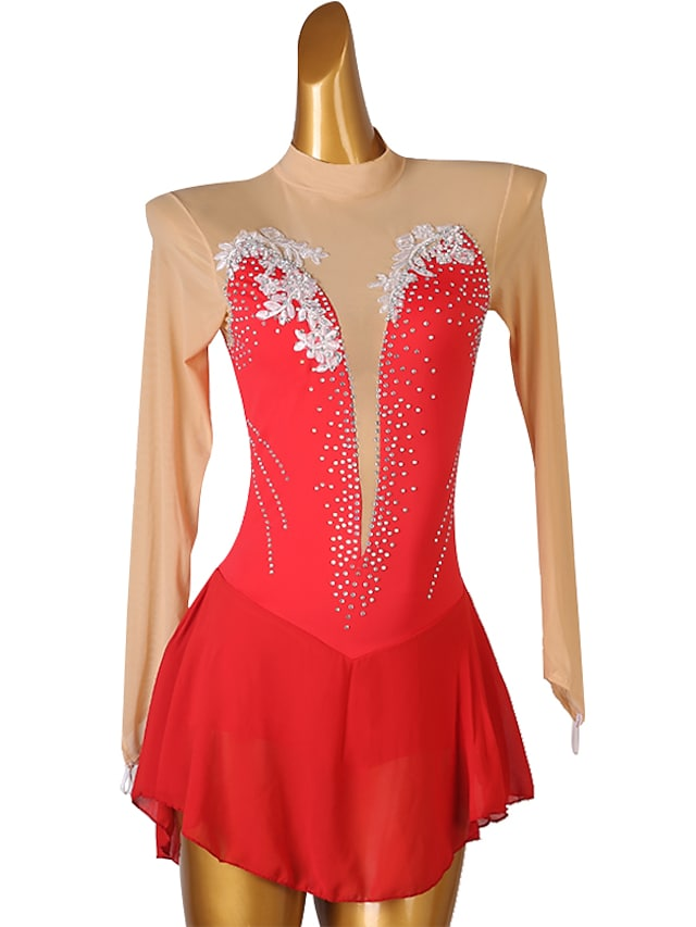 Figure Skating Dress Women's Girls' Ice Skating Dress Red Open Back Patchwork High Elasticity Training Competition Skating Wear Classic Long Sleeve Ice Skating Figure Skating