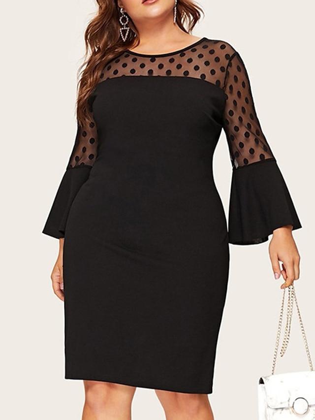 Women's Plus Size Dress Sheath Dress Short Mini Dress Flare Cuff Sleeve Long Sleeve Polka Dot Mesh Casual Fall Summer Black XL XXL 3XL 4XL 5XL