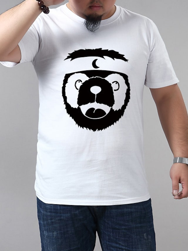Men's T shirt Graphic Panda Plus Size Short Sleeve Casual Tops Blue Purple Yellow