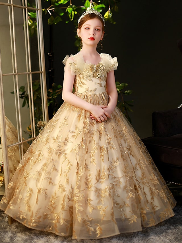 Princess Floor Length Flower Girl Dresses Party Organza Sleeveless Off Shoulder with Beading