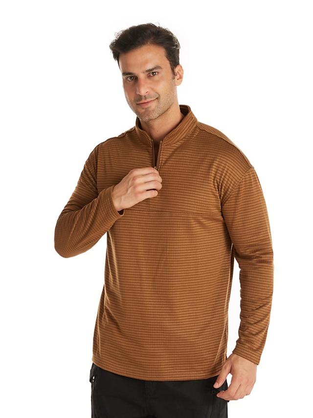 Men's Golf Shirt T shirt Striped Zipper Long Sleeve Casual Tops Lightweight Fashion Big and Tall Blue Gray Khaki