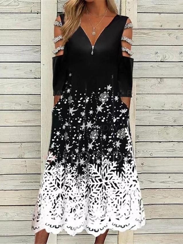 Women's A Line Dress Midi Dress Black 3/4 Length Sleeve Floral Print Fall V Neck Casual 2021 S M L XL XXL