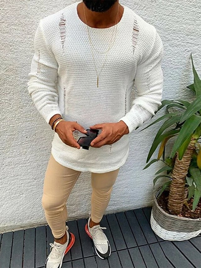 Men's Pullover Sweater Knitted Ripped Solid Color Stylish Long Sleeve Sweater Cardigans Crew Neck Fall Winter White