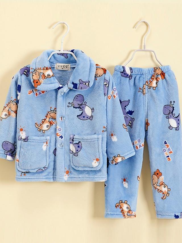 Kids Toddler Boys' Pajamas 2 Pieces Long Sleeve Blue Dinosaur Animal Pocket Adorable Regular 2-12 Years