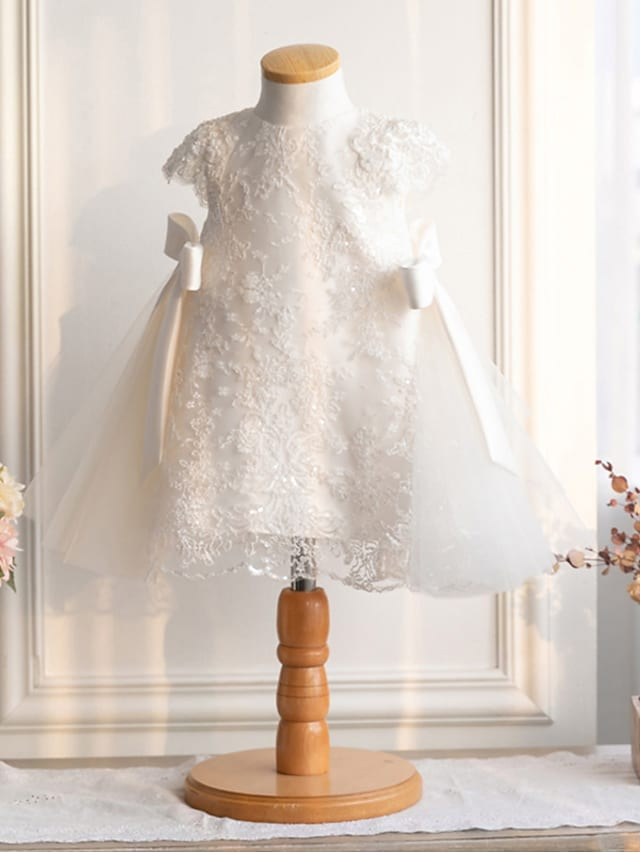 Princess Knee Length Flower Girl Dresses Party Lace Short Sleeve Jewel Neck with Bow(s)